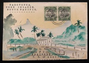 1936 Rarotonga Cook Islands Karl Lewis Cover To Seminole OK USA Shoreline Road