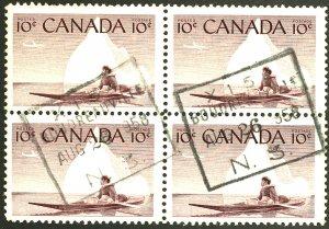 CANADA #351 USED BLOCK OF 4
