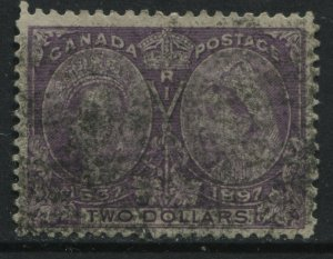 Canada 1897 $2 Jubilee blurred roller cancel used