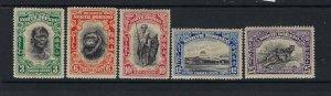 NORTH BORNEO SCOTT #185-189 1931 PICTORIALS (SHORT SET) MINT (TONED)-LH