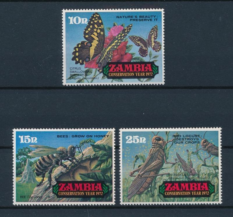 [60265] Zambia 1972 Insects Insekten Butterfly Bees Grasshopper from set MLH