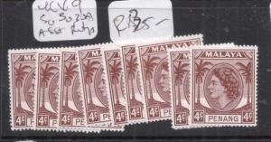 Malaya Penang 1954 SG 30a X 9 Assorted Printings MNH (5dky)