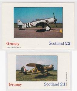 Grunay - Scotland, Airplanes, 2 Souvenir Sheets, NH