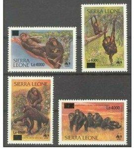 Sierra leone 2008 monkeys wwf 4v overprint MNH