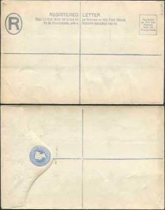 RP14 QV 2d Blue Registered Envelope Size H MINT