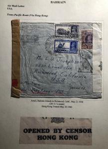 1940 Awali Bahrain India Dual Censored Cover To Richmond Ca USA Pacific Route