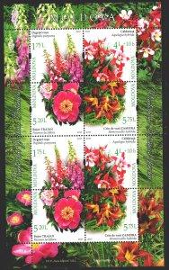 Moldova. 2017. Small sheet 1005-8. Moldavian flora, flowers. MNH.