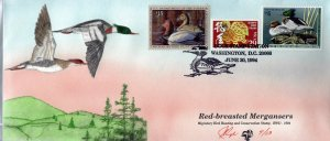 Rare Large Pugh Designed/Painted Merganser Ducks FDC.. 9 of Only 13 created!