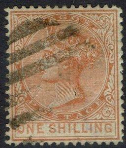 LAGOS 1876 QV 1/- WMK CROWN CC PERF 14 USED