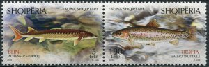 Albania 2018. Albanian Fish Species (MNH OG) Block of 2 stamps