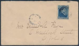 NEWFOUNDLAND #49 ON COVER DOMESTIC USAGE ST. JOHNS BT9343