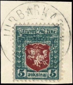 LITUANIE / LITHUANIA - 1919 - JURBARKAS  cds on Mi.39C on piece