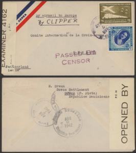 1942 Dominican Republic Sosua Settlement Judaica Cover to Red Cross Switzerland