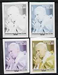 Honduras 2005 The Pope 15L set of 4 imperf progressive pr...