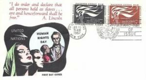 UN #57/58 - HUMAN RIGHTS DAY FDC - Overseas Mailers