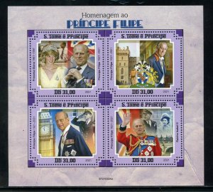 SAO TOME 2021 HOMMAGE TO PRINCE PHILIP SHEET WITH  DIANA & QEII  MINT NH