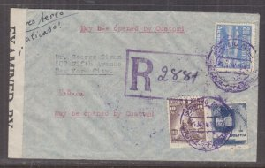 BOLIVIA, 1942 Reg. Airmail Censored cover, Cochabamba to USA, 10c., 30c., 20b.
