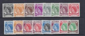 Malaya (Malacca),29-44 (16v),Queen Elizabeth II Sgls,**LH**