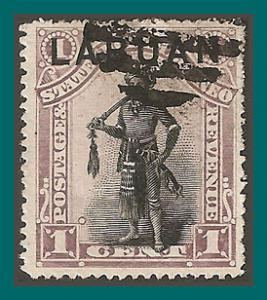 Labuan 1894 Dyak Chief, p15, cancelled  49,SG62