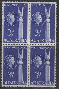 AUSTRALIA SG283 1955 25th AUSTRALIAN-AMERICAN FRIENDSHIP BLOCK OF 4 MNH