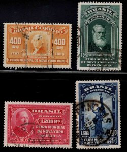 Brazil Scott 480-483 Used 1939 New York Worlds Fair set