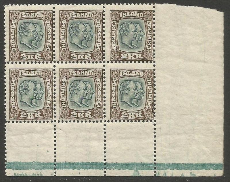 ICELAND 84 MNH BLOCK OF 6[D3]