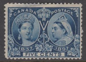 Canada 1897 5c Jubilee Sc#54  Mint - Hinge Thin and Tear at top