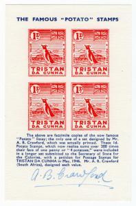 (I.B) Tristan da Cunha Postal : Local Post 1d (signed by designer)