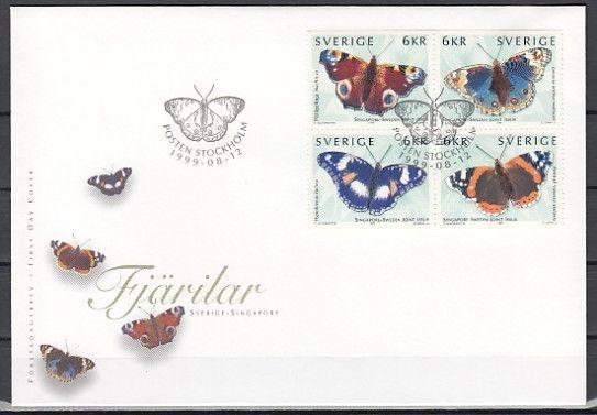 Sweden, Scott cat. 2356 A-D. Butterflies issue on a First day cover.