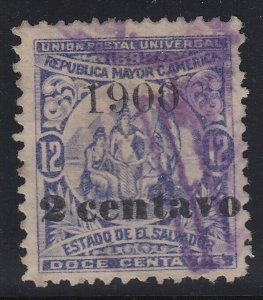 El Salvador 1900 2 Centavo Surcharge on 12c Violet Used. Scott 228