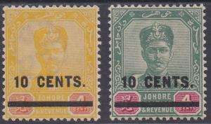 JOHORE 1904 SULTAN SURCHARGE 10C ON 4C GREEN AND YELLOW */**