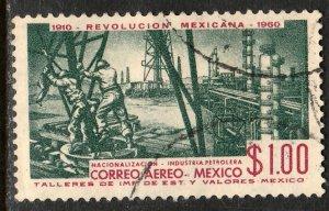 MEXICO C254, $1P 50th Anniv Mexican Revolution. USED. F-VF. (1019)