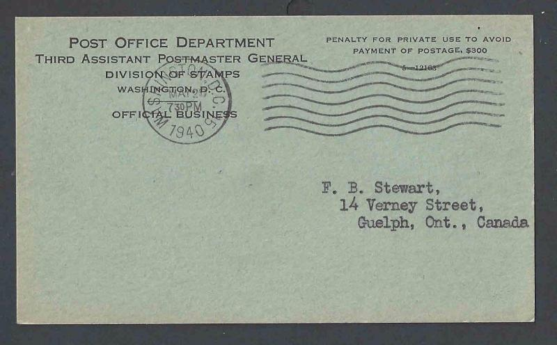1940 u s post office dept official business card philatelic agency 1940 u s post office dept official business card philatelic agency lt dull green reheart Images