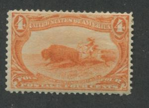 1898 US Stamp #287 4c Mint Hinged VF Thins Original Gum Catalogue Value $190