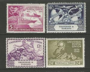 Trinidad & Tobago 1949 UPU 75th Anniversary Commemorative Set Avg Mounted Mint