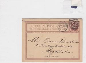 England to sweden 1898 stamps cover postcard Ref 8431