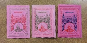 Germany, ZEPPELIN Cinderella Poster Stamps lot of 3 different colors pink paper