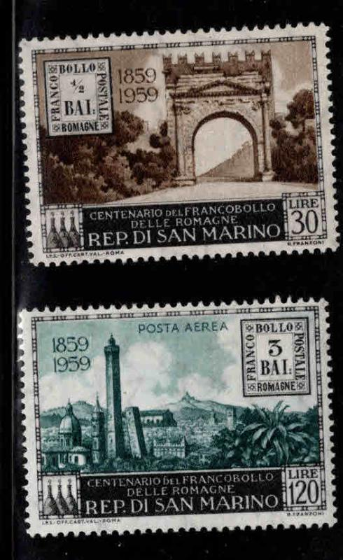 San Marino Scott 437,C109 MNH** 1959 stamp on stamp set