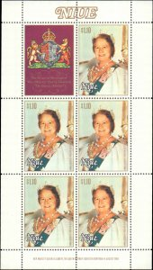 Niue #291, Complete Set, Sheet of 5 + Label, 1980, Royality, Never Hinged