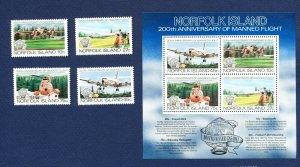 NORFOLK ISLAND - 310-313a - VF MNH  - airplane, helicopter - 1983