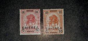 Eritrea # 60-61, Mint 1922, Somalian Lion Overprint, CV $9.50