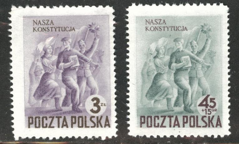 Poland Scott 552, B81 MNH** 1952 constitution set CV$1.50