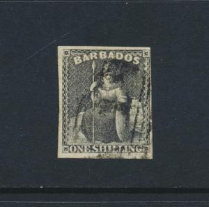 BARBADOS 1858, 1sh BROWN BLACK, VF USED 4 MARGIN SG#12 CAT£110 (SEE BELOW)