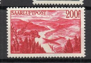 SAAR; (Saargebiet) 1948 Apr. Workers Pictorial AIR issue Mint hinged 200Fr.