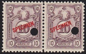 PERU 1909 Postage due pair SPECIMEN opt in red + security punch hole .......7972
