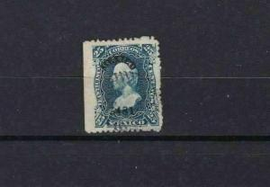 MEXICO 1874  STAMP 25 CENTAVOS BLUE WITH DISTRICT NUMBER  USED     REF 5662