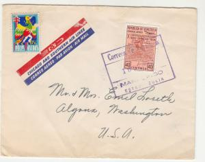VENEZUELA, 1954 Chicago & Southern Airmail cover, Maracaibo to USA, Easter label