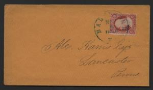 US Scott #26a Left Frame Line Doubled on Cover, Baltimore MD Blue CDS Cancel