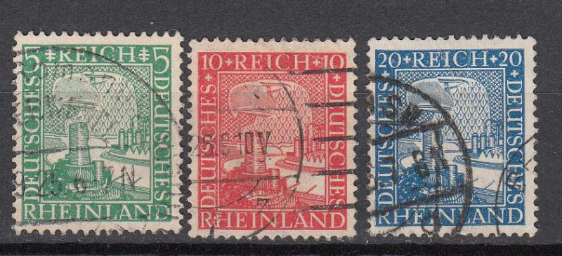 Germany - 1925 Union of the Rhineland with Germany Sc# 347/349 (9694)