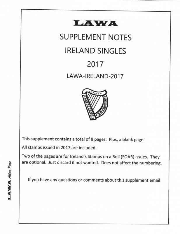 2017 Ireland  ISSUES SUPPLEMENT – LAWA Album Pages